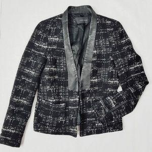 Zara Wool Blend Blazer w/ Faux Leather Lapels